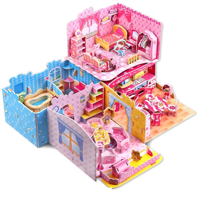 Nueva similares dormitorio habitación cuarto de baño rompecabezas 3D rompecabezas interesante Juguetes educativos para los niños de Juguetes