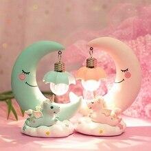 Lámpara de noche LED unicornio Luna resina de dibujos animados lámpara de noche Luminaria romántica decoración de dormitorio lámpara de noche bebé niños cumpleaños regalo de Navidad