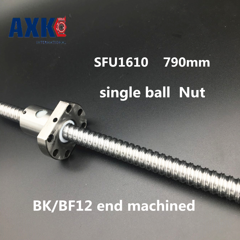 2018 Limited Axk Linear Rail 16mm Sfu1610 Ball Screw Rolled C7 Ballscrew 790mm With One 1610 Flange Single Nut For Cnc Parts 16mm 1605 ball screw rolled c7 ballscrew sfu1605 950mm with one 1500 flange single ball nut for cnc parts