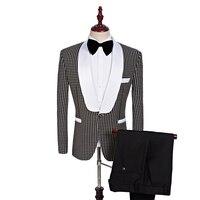2018 Custom Made Brand Groomsmen Shawl White Lapel Groom Tuxedos black Men Suits Wedding Best Man (Jacket+Pants+Tie+Hankerchief)