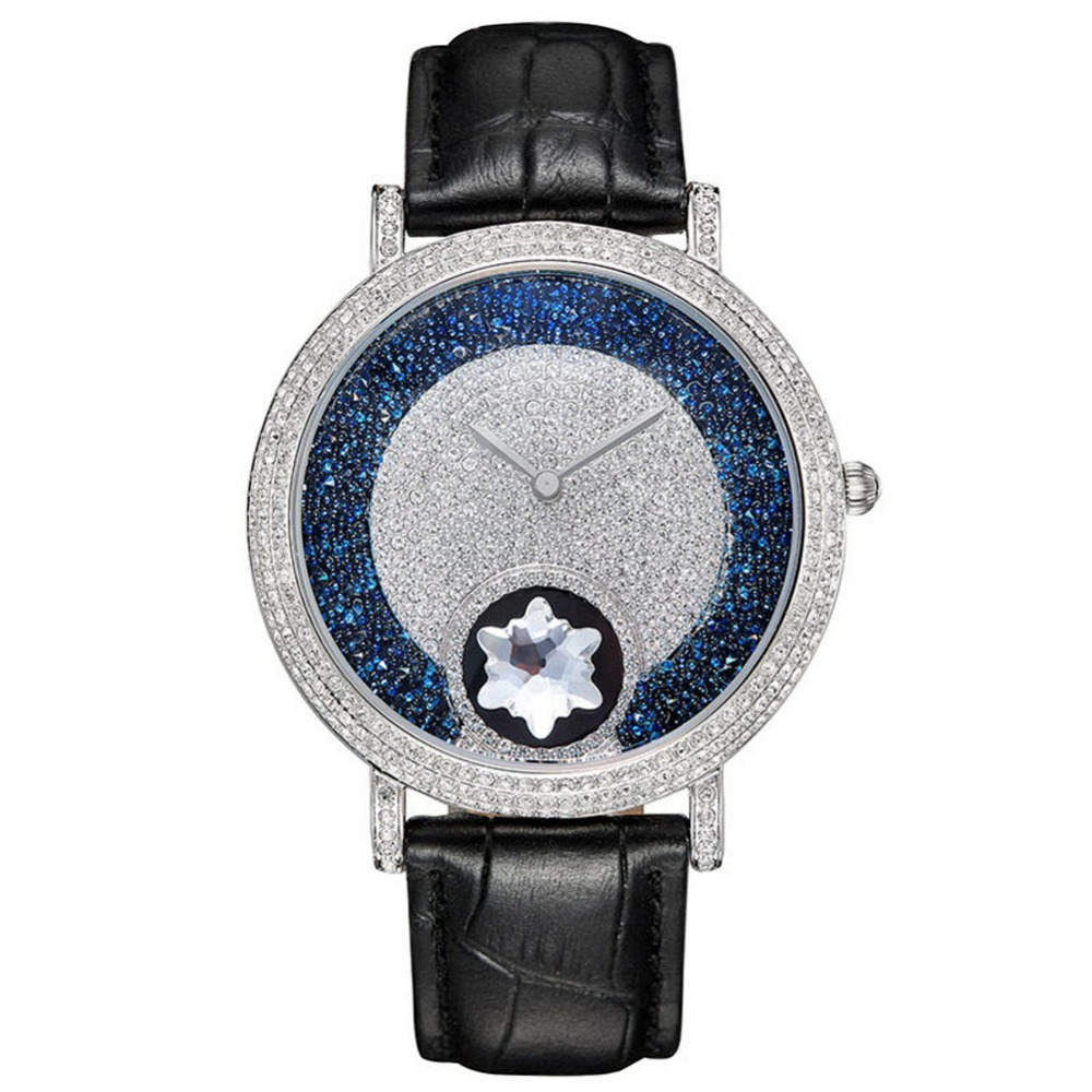 MATISSE Lady Vogue Full Crystal Leather Strap Fashion Quartz Watch Wristwatch Black