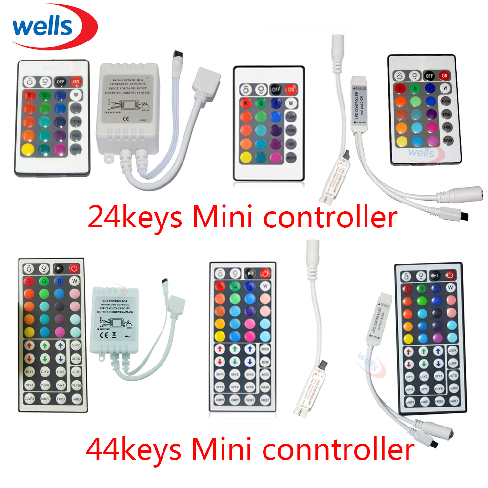 Newest 1pcs 24 Keys 44 Keys LED IR Remote Wireless RGB Controler DC12V 6A use For 5050 3528 RGB LED Strip Light led wifi controller 4 0 bluetooth control 5050 rgbw rgb led strip tape 24 keys remote ios android phone light controler dc12v