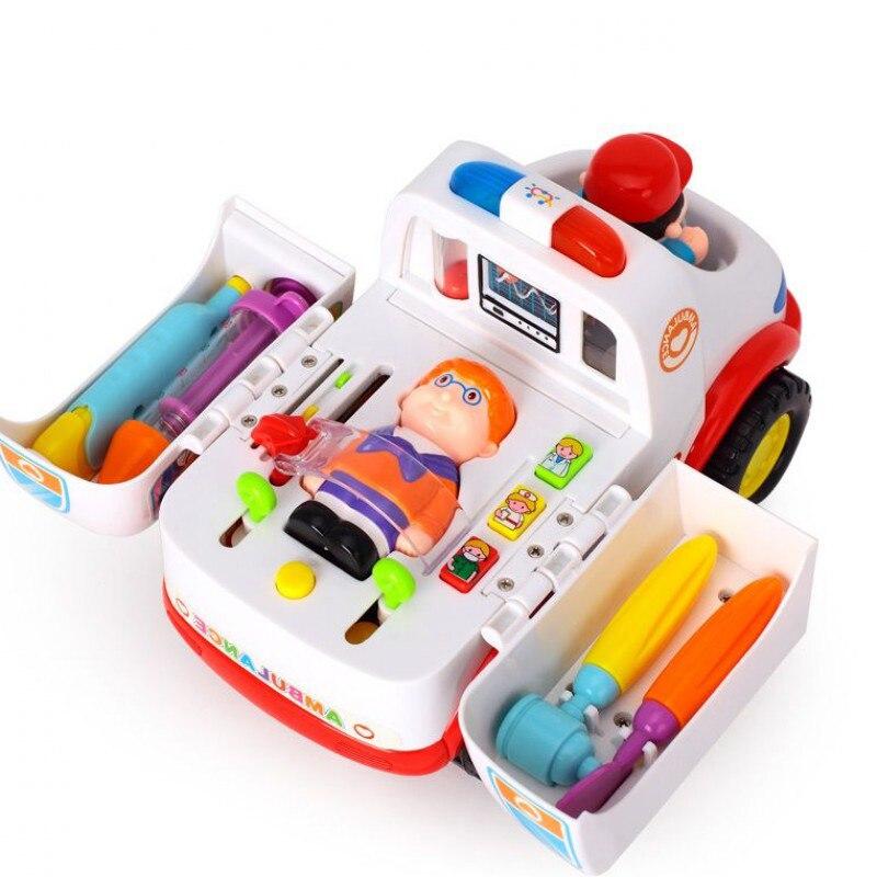 Huile toys bebé educativos ambulancia kit médico modelo de simulación de vehícul