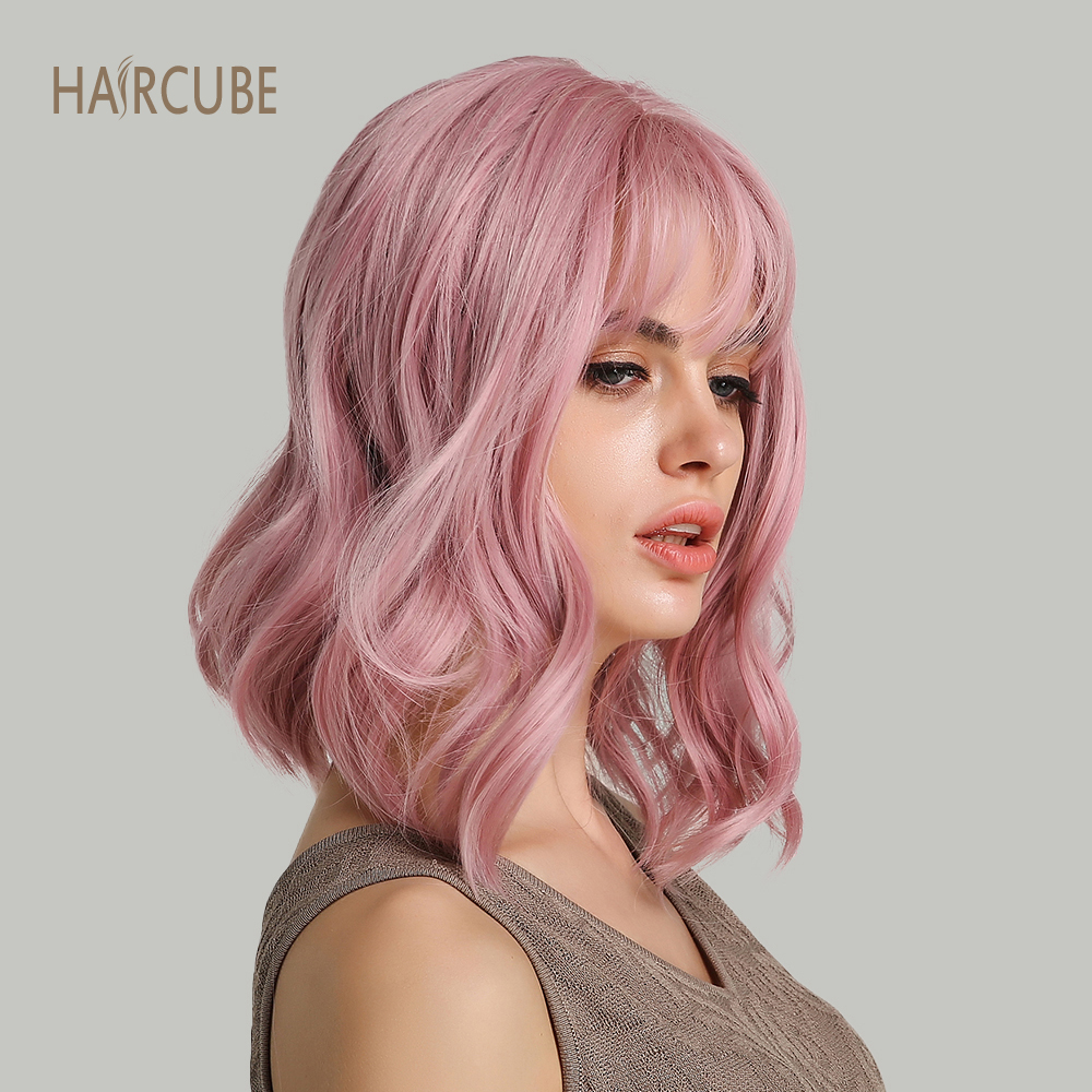 """Haircube 14"""" Synthetic Hair Pink Colors Short Water Wave Wigs For White/Black Women Heat Resistant Fiber Daily Full False Hair"""