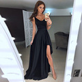 2017 Maxi Long Vintage Party Dress Red Floor-Length V-neck Black Summer Women dresses