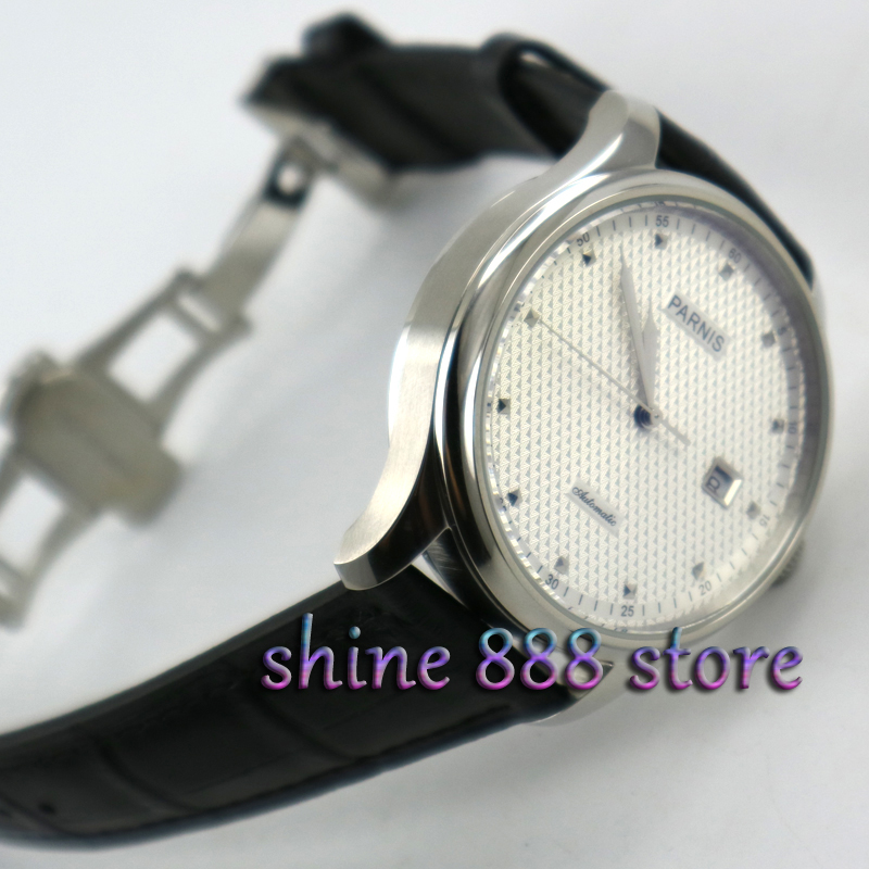 43mm Parnis White Dial Silver Number Deployment Buckle Automatic Mens Watches