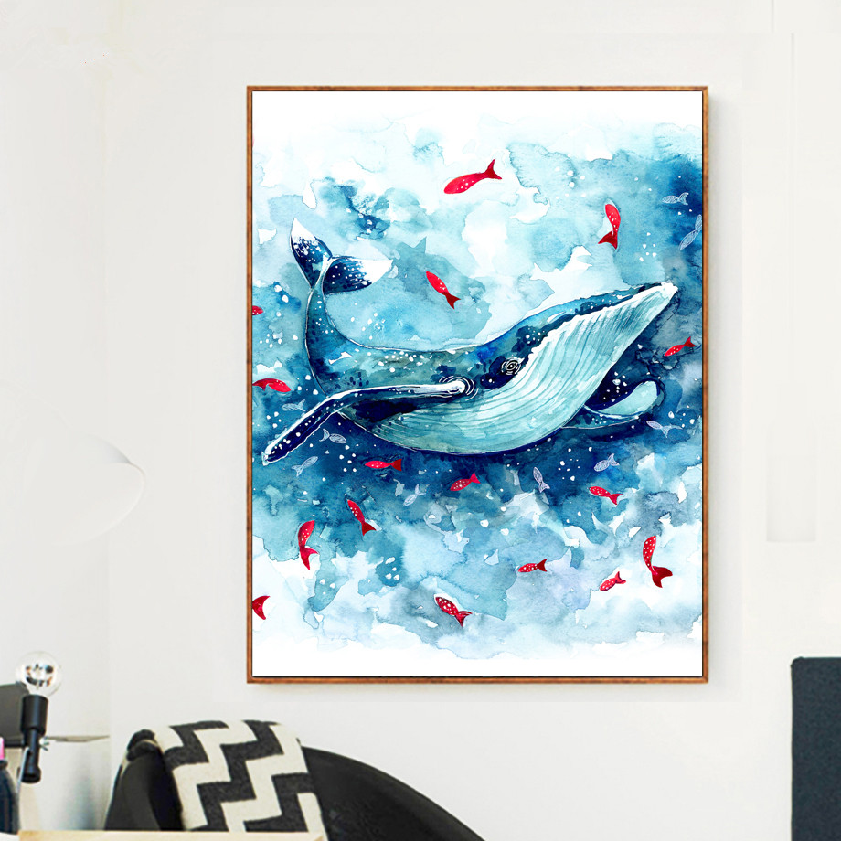 Watercolor Sea Whale Fish Wall Art Canvas Painting Nordic Posters And Prints Animals Wall Pictures Baby Kids Room Bedroom Decor in Painting Calligraphy from Home Garden
