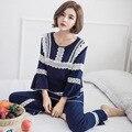 Primavera 2017 de algodão novo 100% pijama de algodão longo-sleeved seção fina rendas Princesa terno serviço de casa