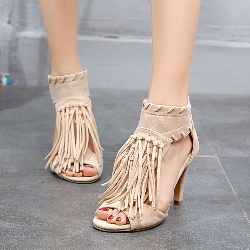 E TOY WORD Summer Shoes women thin heel High Heels Tassel Roman style large size 40 43 yards Sandals Women 39 s Summer in High Heels from Shoes