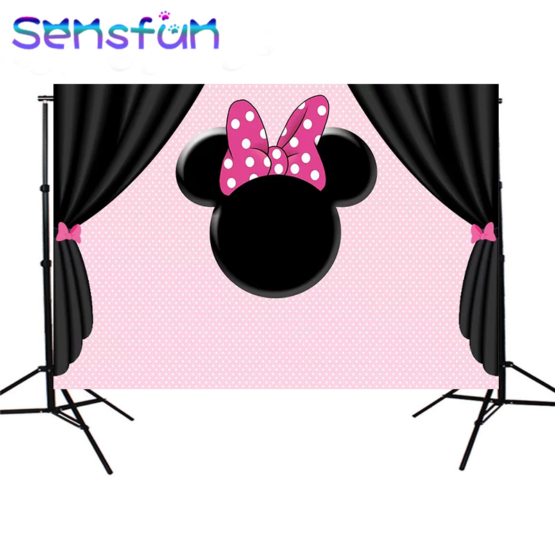7x5ft Pink Wall Black Curtains Girls Minnie Photography Backdrops Custom Photo Studio Baby Shower Backdrop Background Vinyl