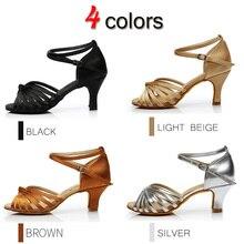 YHDS New Latin Dance Shoes For Women Girls Tango Salsa Ballroom Dance High Heels soft Dancing Shoes 5/7cm Ballroom Dance shoes