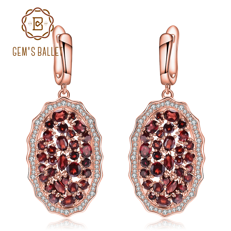 GEM S BALLET 9 49Ct Natural Red Garnet Gemstone Earrings 925 Sterling Silver Rose Gold Plated