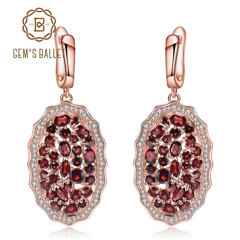 GEM'S バレエ 9.49Ct 天然赤ガーネット宝石イヤリング 925 スターリングシルバーローズゴールドメッキ女性ジュエリー  グループ上の ジュエリー & アクセサリー からの イヤリング の中 1