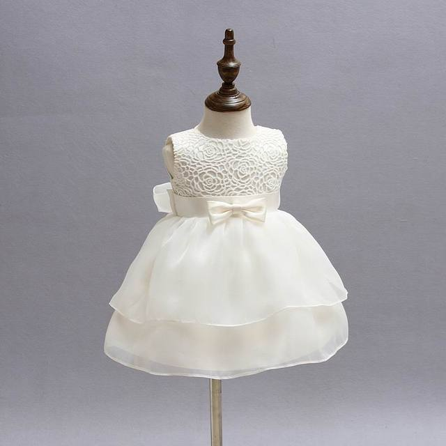 Retail Newborn Baby Girls Princess Birthday Party White Formal Christening Gown Dress with Bow Dresses for 0-24 Months 2089