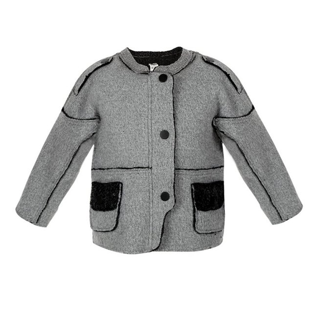 Winter Warm Little Boy Girls Splicing Jacket Outwear Gray Round Neck Woolen Cloth Unisex Coat Jackets