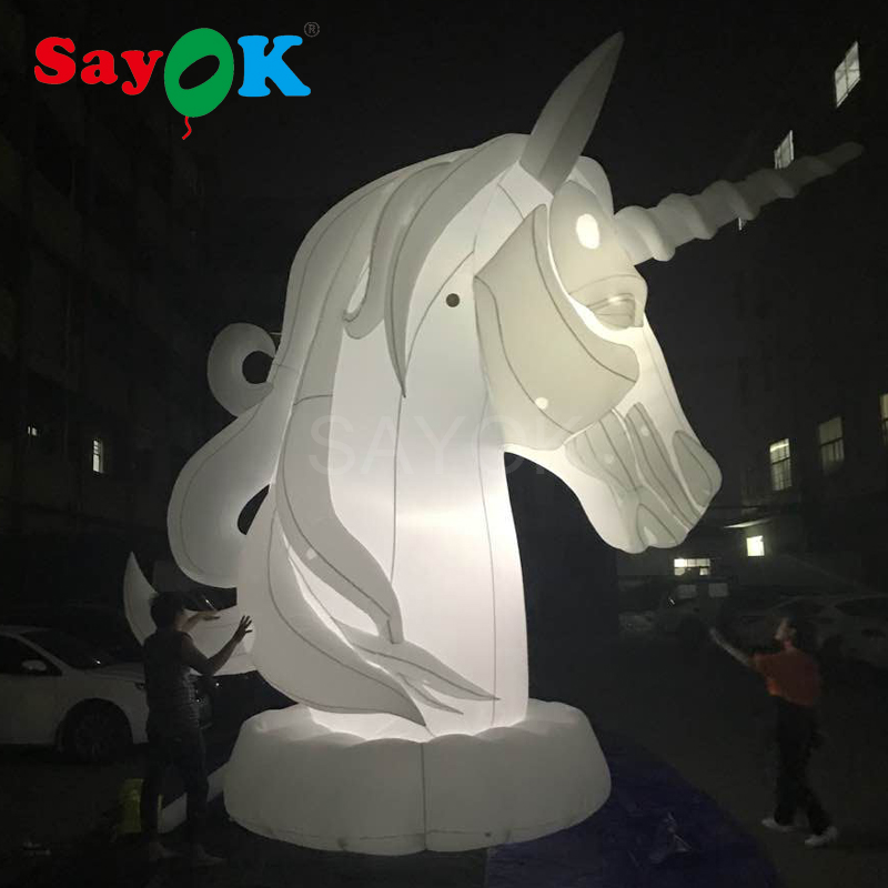 5mH giant inflatable horse with horn with white light inflatable horse head for advertising