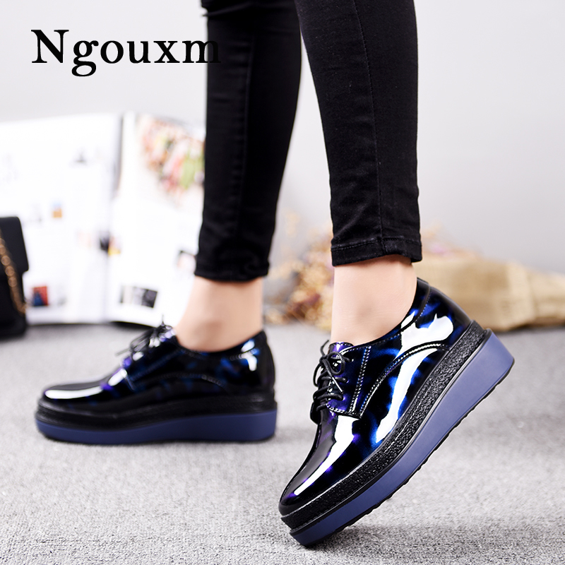 Ngouxm Women's Patent Leather Flats Platform height increasing shoes Lace Up Foo