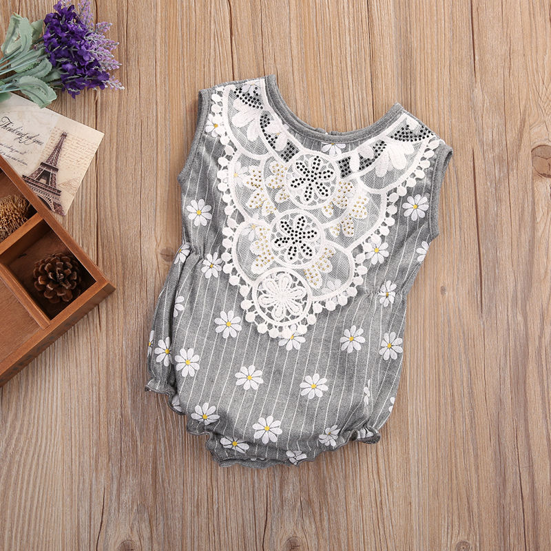 Cute Newborn Baby Girl Clothes Floral Lace Romper 2017 Summer Sleeveless Infant Bebes Princess OnePieces Sunsuit Outfit Jumpsuit newborn infant baby clothes girl floral strap lace romper jumpsuit playsuit outfit cute summer baby romper onesie