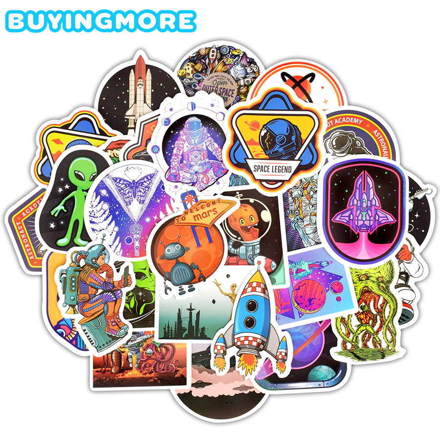 50 PCS Outer Space Sticker UFO Alien Astronaut Rocket Cartoon Stickers Gifts Toys For Children DIY Skateboard Laptop Car Phone
