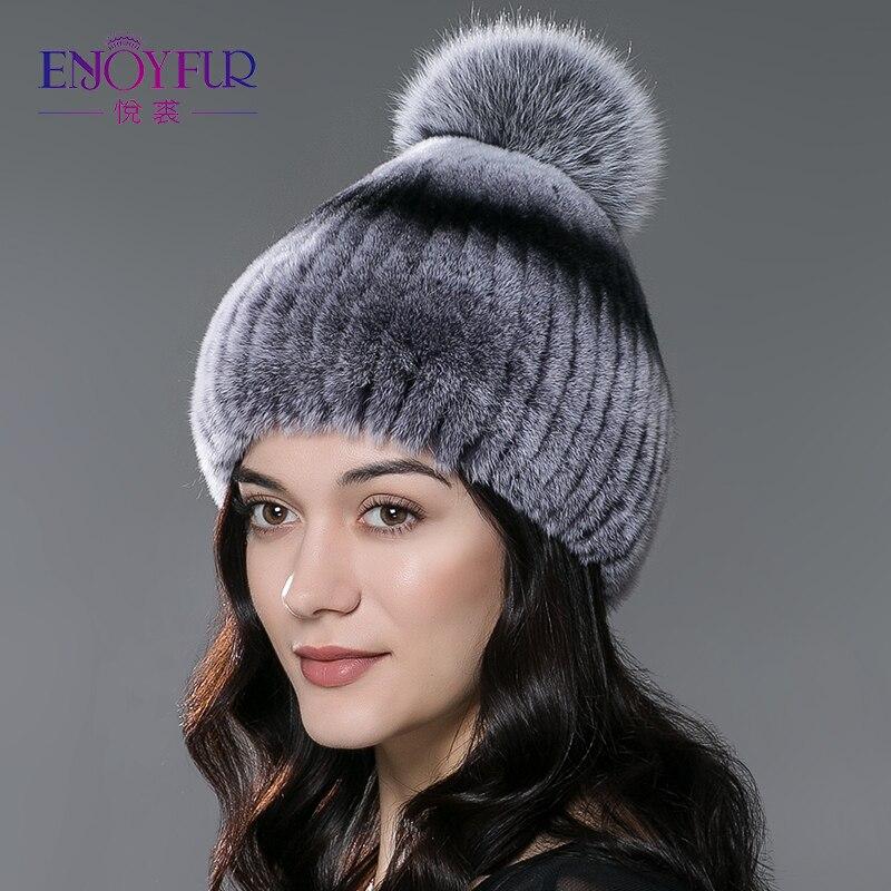 Sombrero de piel de invierno para las mujeres real rex conejo sombrero de piel con piel de zorro pom poms piel gorritas tejidas 2018 nuevo moda tapas de buena calidad