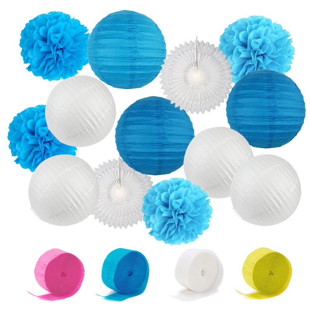 Blue&White Wedding Theme Background Wall Party Decor Cut out Paper ...