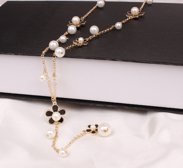 Women Flower Long Necklace