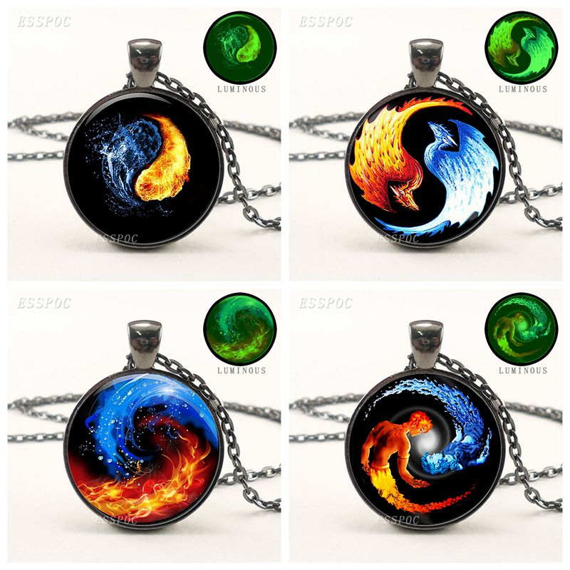 Black Luminous Necklace Glowing Yin Yang Picture Pendant wit…