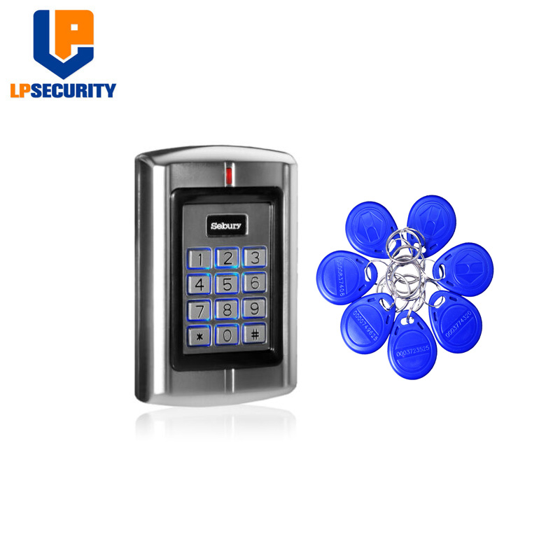 Sebury BC-2000 125KHz RFID EM ID Card Metal Stand-alone Access Control Keypad With Keychains Tags