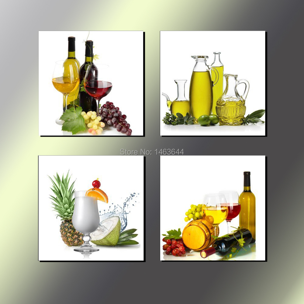 Fruit Juice Wine Kitchen Decor Hd Print Canvas Painting Ready To Hang Wall Picture Free Shipping 4 Pcs Set Hdabdp158