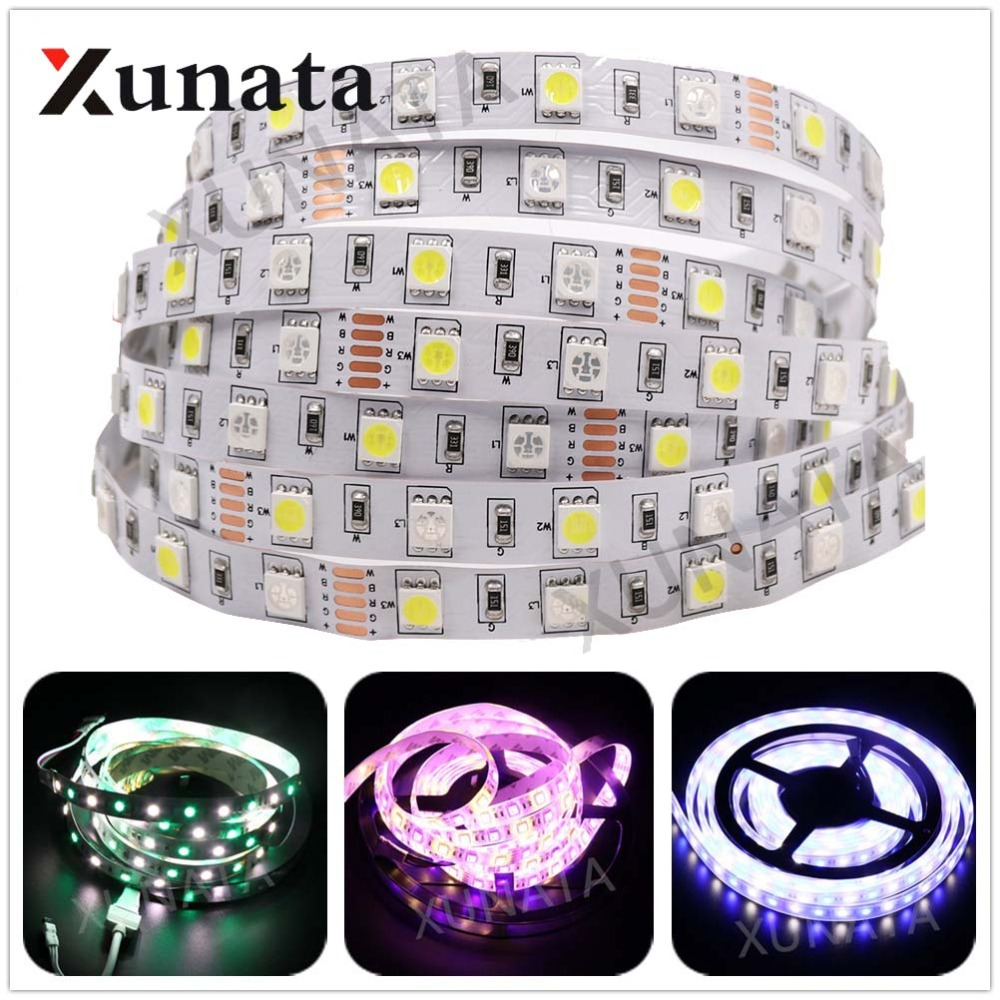 DC <font><b>24V</b></font> RGBW <font><b>LED</b></font> Strip Light SMD 5050 5M 300 <font><b>led</b></font> flexible tape rope <font><b>stripe</b></font> light 12mm PCB RGBWW RGB white or warm white 60leds/m image