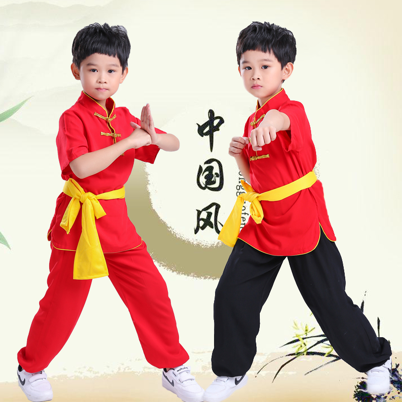 Chinese Style Martial Arts Cotton Kung Fu Suits Tai Chi Performance Wing Chun Pants Shirt Pants Uniforms For Kids Girls Boys