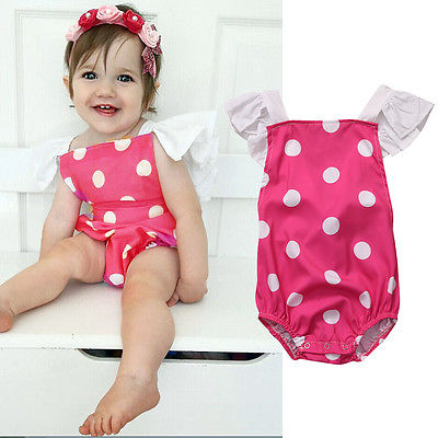 2017Newborn Toddler Infant Baby Girl Dot Backless Romper Bodysuit Fly Sleeve Jumpsuit Outfit Kid Sunsuit Children Clothing 0-24M newborn infant baby girl clothes strap lace floral romper jumpsuit outfit summer cotton backless one pieces outfit baby onesie