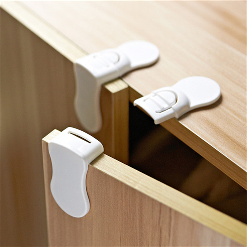 2 Pcs Drawer Lock For Children Safety Lock Baby Door Safety Buckle Prevent Open Drawer Cabinets Anti Pinch Hand Protect