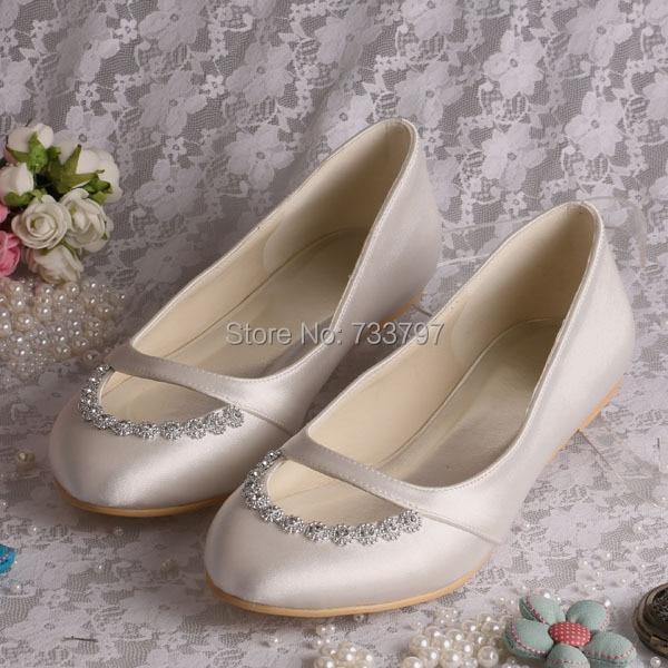 ФОТО (20 Colors)Wedopus Custom Handmade Women Flat Bridal Shoes Wedding Ballet Ivory Satin