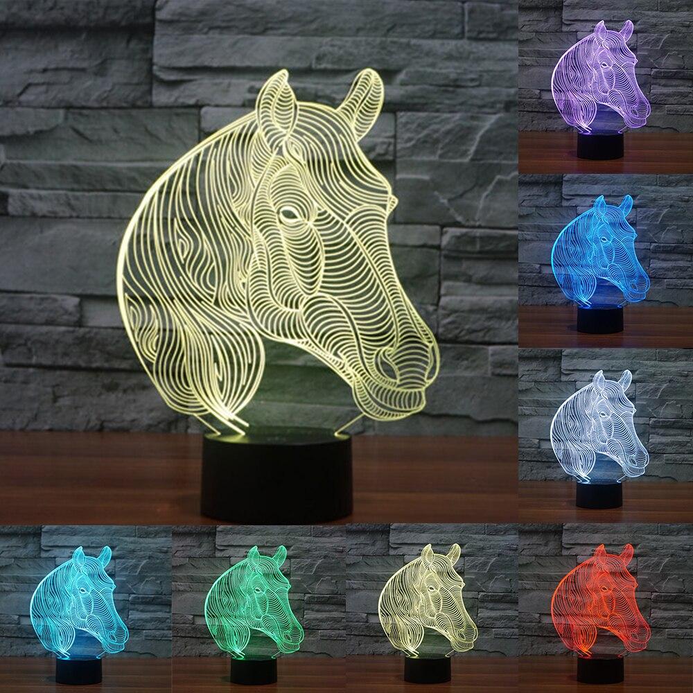 Acrylic 7 Colors Changing Animal Horse Led Nightlights 3D light LED Desk <font><b>Table</b></font> Lamp USB 5V Lamps for Home Decoration IY803455