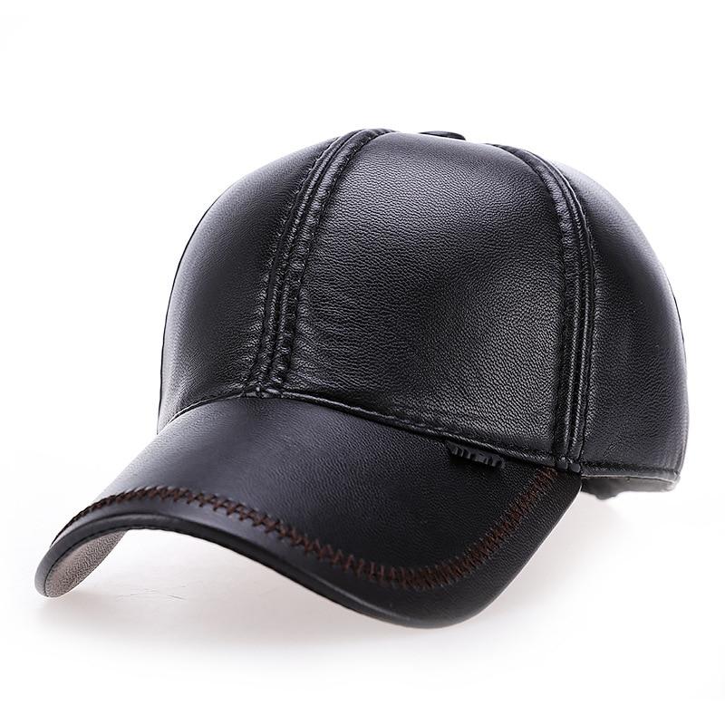 VORON 2017 new High quality Faux Leather hat genuine winter leather hat   baseball     cap   adjustable for men black hats