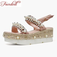 FACNDINLL Women Summer Shoes Sandals Genuine Leather Wedges High Heels Open Toe Sweet Style Shoes Woman