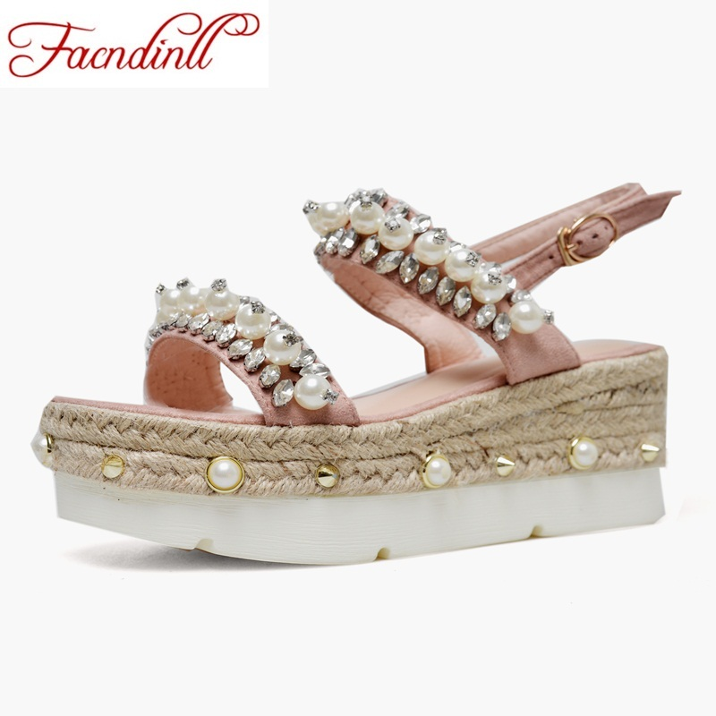 FACNDINLL women summer shoes sandals genuine leather wedges high heels open toe sweet style shoes woman dress party casual shoes facndinll genuine leather sandals for