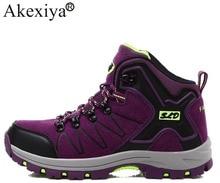 Akexiya Botas de senderismo de cuero para hombre y mujer, calzado deportivo para exteriores, zapatillas de montaña para escalada