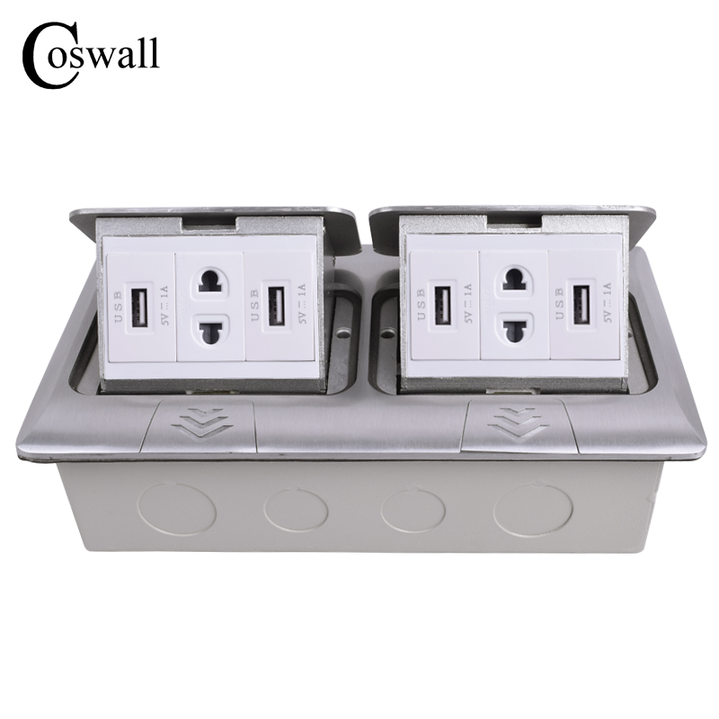 COSWALL All Aluminum 2 Way Panel Pop Up Floor Socket Universal 4 Hole Power Outlet With 4 USB Charging Port For Mobile Phone manufacturer all aluminum panel uk standard pop up floor socket single power outlet rj45 audio 10 pcs set