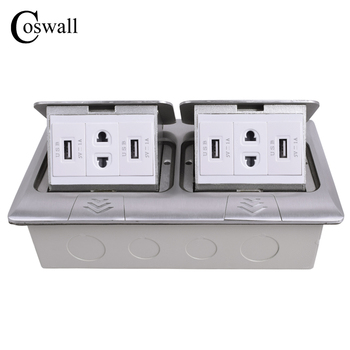 COSWALL All Aluminum 2 Way Panel Pop Up Floor Socket Universal 4 Hole Power Outlet With 4 USB Charging Port For Mobile Phone
