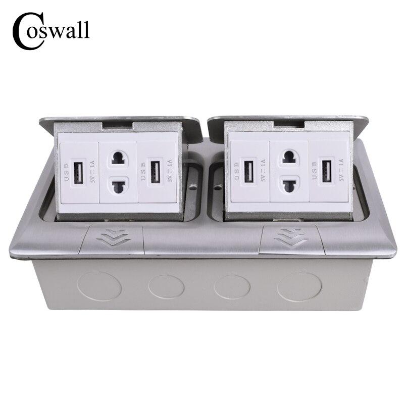 COSWALL tout aluminium 2 voies panneau Pop Up prise de sol universel 4 trous prise de courant avec 4 Port de charge USB pour téléphone portable