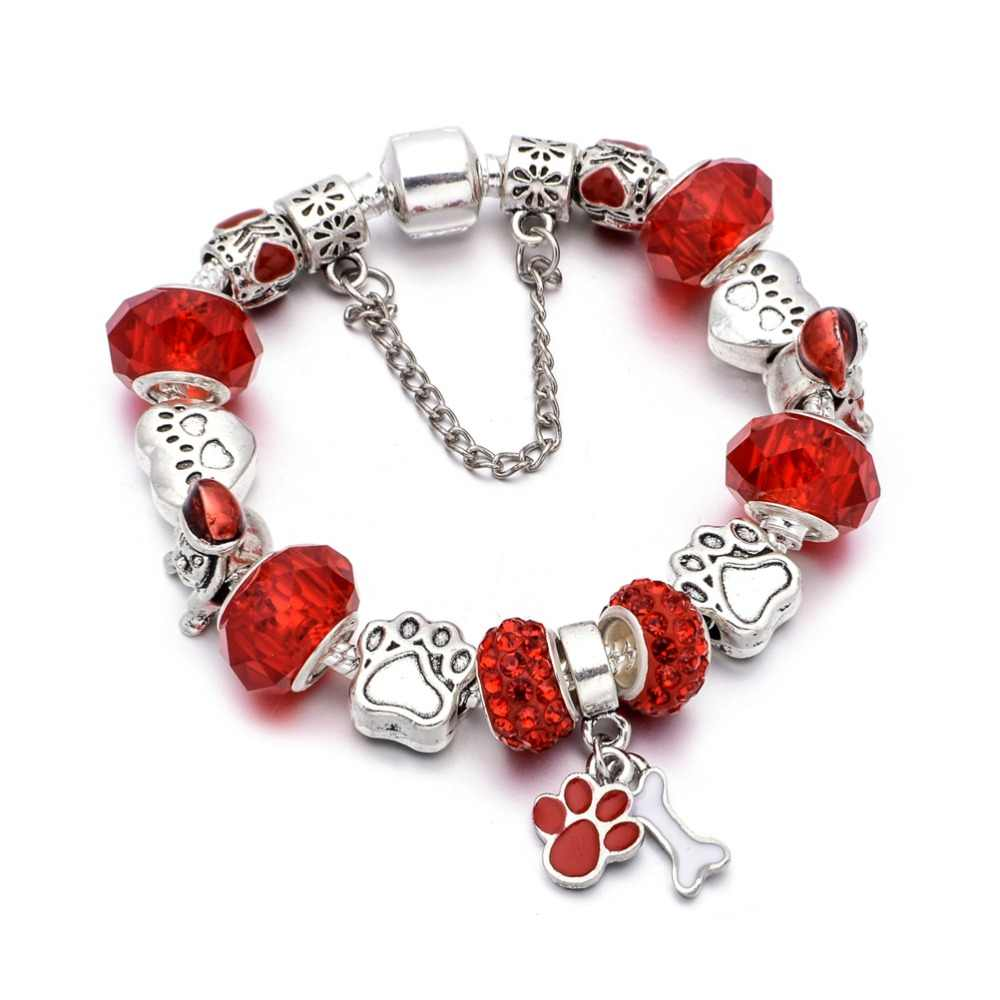 KEORMA 2019 New Bracelet Lovely Vintage Dog paw charm Crystal Beads With paw bone pendant fit Fine Bracelet For Women Girls