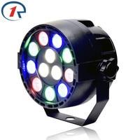 DJ 12x3W Flat LED Par RGBW DMX512 Disco Lamp Stage Light Luces Discoteca Laser Beam Luz