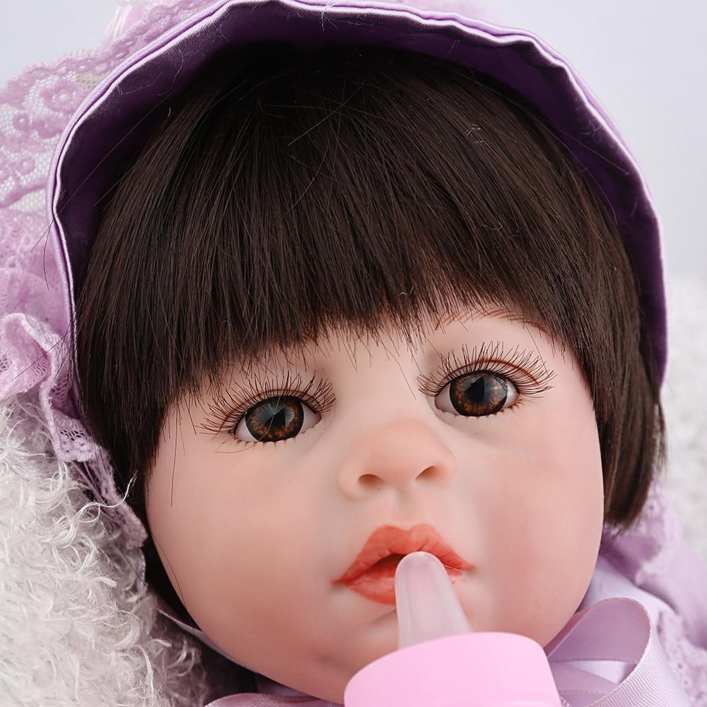 NPKDOLL Reborn bébé poupée fille jouets plein vinyle réaliste réaliste violet robe nouveau-né faux infantile noir cheveux perruques Dollhouse mignon - 6