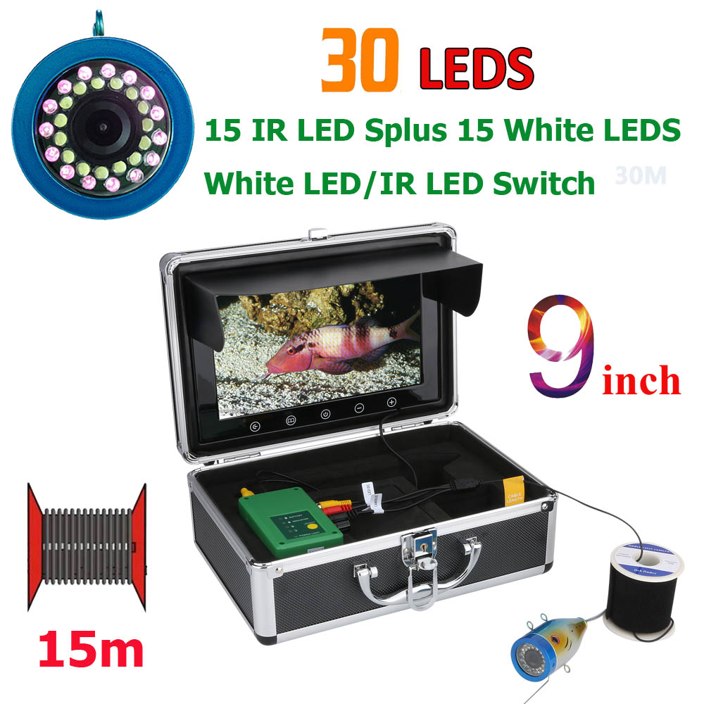 GAMWATER Double Lamp 30 LEDs 9 Inch 15M 30M 50M 1000TVL Fish Finder Underwater Fishing Camera 15pcs White LEDs + 15pcs IR LED
