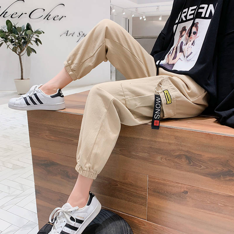 Casual Kahaki Cargo   Pants   Women Hip Hop Streetwear Track   Pants     Capris   Elastic High Waist Trousers Female Black Sweatpants Girls