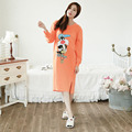 New Cartoon Nightgown Long-Sleeve Lingerie Knee-length Sleep Shirt For Women 100% Cotton Nightwear Sleep Tops Shirt Pijamas