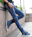 Punk Jeans Men 2017 New Fashion Rock Style Garment Washed Plaid Stitching Male Denim Pants Hiphop Free Shipping