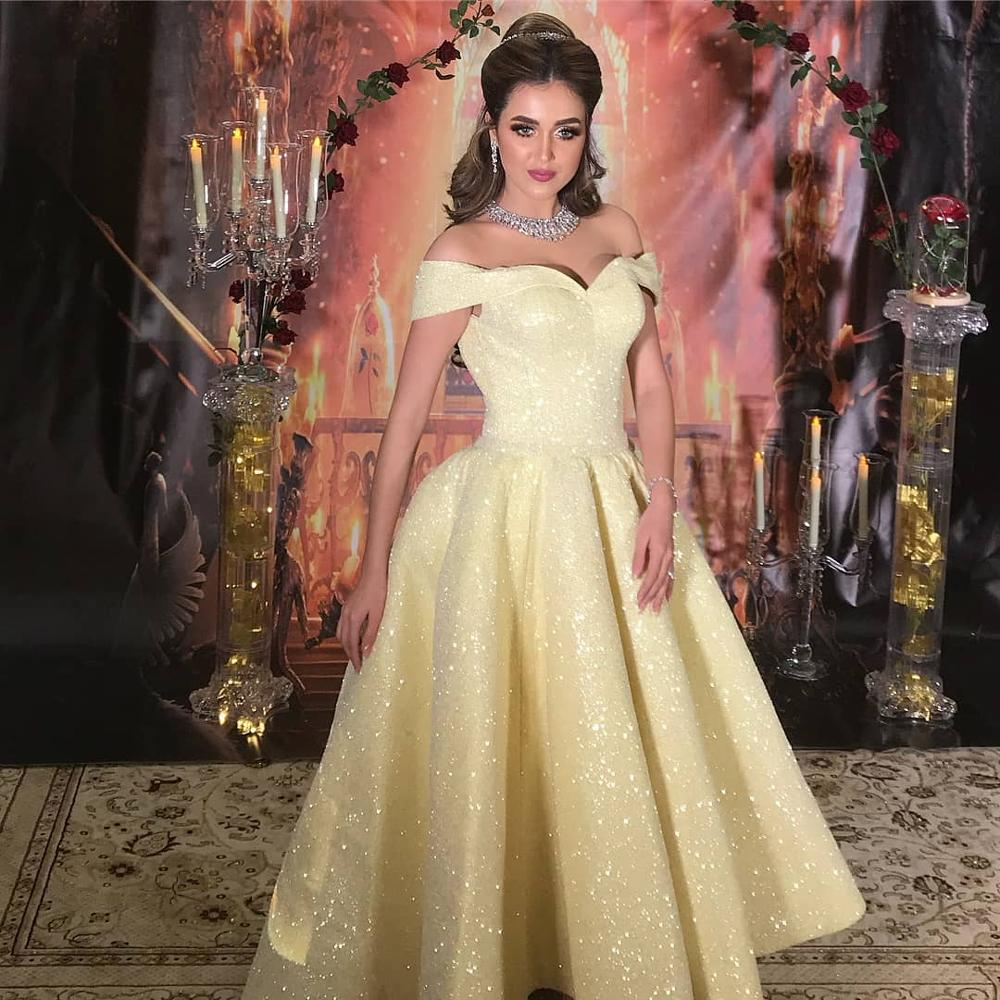 Vintage Tea Length Ball Gown Arabic Evening   Dresses   2019 Off Shoulder Glitter Sequined Light Yellow Dubai High Low   Prom     Dress